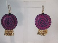 Lee Angel Lee Angel Talia Purple Blue Leather Baby Stitched Circle Gold Earrings