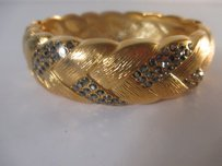 Lee Angel Lee Angel Textured Gold Gunmetal Crystal Cuff Bracelet