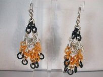 Lee Angel Lee Angel Three Tier Tri Color Link Chandelier Earrings Blk Org White