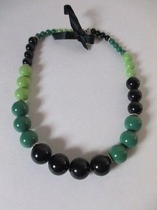 Lee Angel Lee Angle Green Black Lime Bauble Black Tie Crystal Neklace