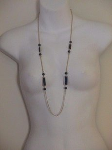 Lee Angel Nordstrom Lee Angel Missing Piece Navy Rectangle Link Necklace
