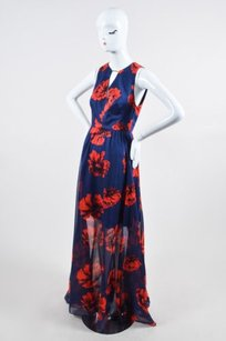 Multi-Color Maxi Dress by Lela Rose Navy Red Cotton