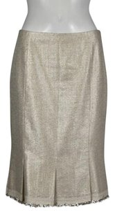 Lela Rose Womens Metallic Woven Straight Knee Length Skirt Beige