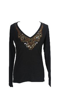 Les Copains 0j9055 Embellished Tee Womens T Shirt Black