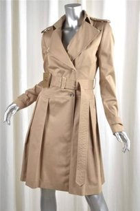 Leslie Fay Womens Classic Tan Khaki Trench Coat