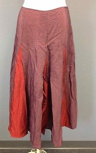 Lilith Mauve Jute Pleated Maxi Skirt Red