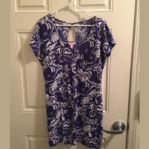 Lilly Pulitzer short dress blue/white Seahorse on Tradesy