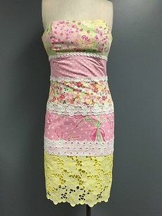 Lilly Pulitzer short dress Multi-Color Cotton Multi Print Strapless Mini Sma6425 on Tradesy