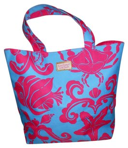 Lilly Pulitzer Fish Star Fish Crab Tote in pink & blue
