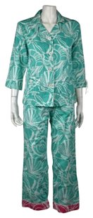 Lilly Pulitzer Lilly Pulitzer Clammies N Jammies Womens Teal Printed Sleepwear Set