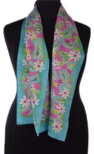 Lilly Pulitzer Lilly Pulitzer For Ford Womens Blue Scarf One Floral Silk Casual