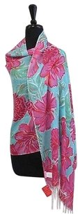 Lilly Pulitzer Lilly Pulitzer Blue Pink Floral Print Cashmere Silk Blend Shawl Wrap Os B2377
