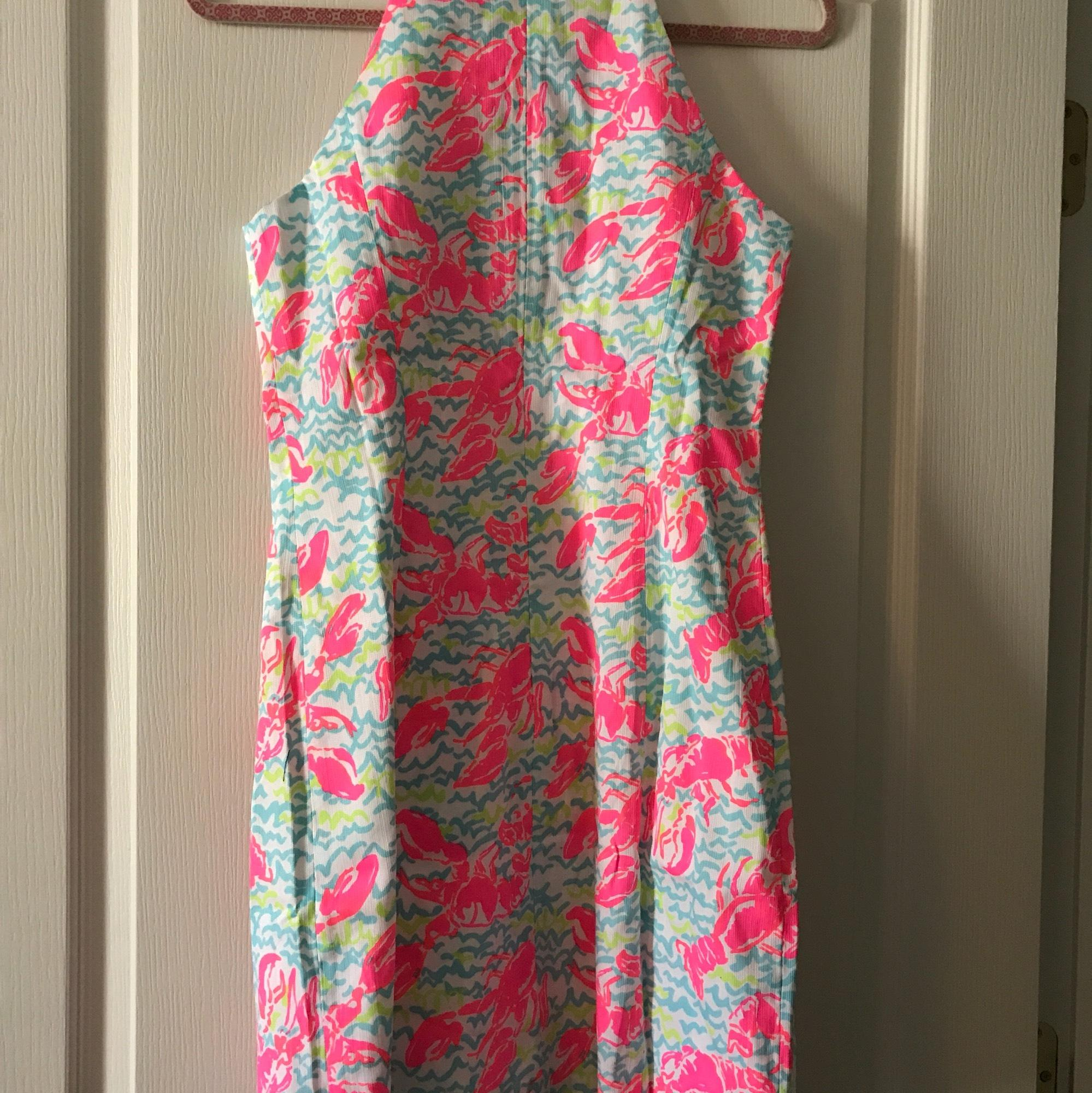 Lilly Pulitzer White/ Pink/ Blue Lobster Roll Mid-length Short Casual Dress Size 2 (XS) - Tradesy