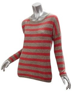 LINE Womens Striped Cashmere Crewneck Jacket Cardigan Sweater