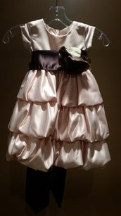 Lito Size 2t Champagne/chocolate Flower Girl Dress