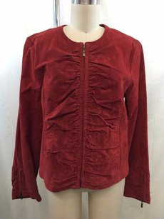 Live A Little Suede Bunched Zip Front Red Jacket