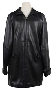Liz Claiborne Womens Leather Coat Black Jacket