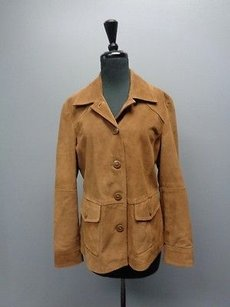 L.L.Bean Brown Suede Short Button Up W Leather Sma2384 Jacket