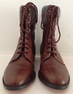 Loeffler Randall Leather Wool Inserts Lace Up Ankle K Brown Boots