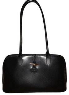 Longchamp Structured Polished Leather Double Straps Classic Leather Tote in Black