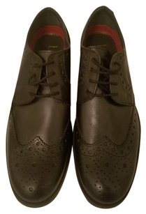 Lotus Leather Upper Lightweight Sole Lace Ups 1 Inch Sole Brogues Black Flats