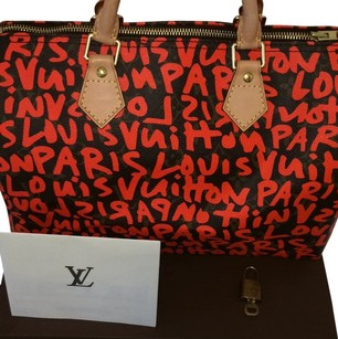 Louis Vuitton Discontinued Limited Satchel in Bright Orange and Brown