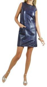 Louis Vuitton short dress navy blue Lv Lv Leather Lv Leather Leather Designer on Tradesy