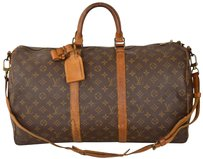 Louis Vuitton Duffle Gym Suitcase M41416 Strap Brown Travel Bag