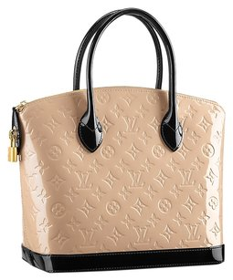 Louis Vuitton Leather Luxury Monogram Satchel in dune / black