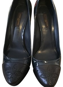 Louis Vuitton Leather Patent black and dark teal cap toe Pumps