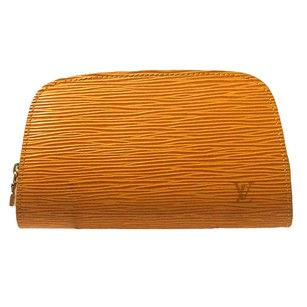 Louis Vuitton Leather Pouch Yellow Clutch