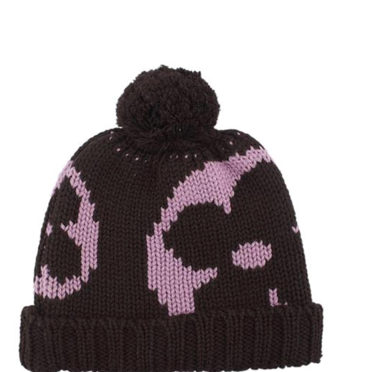 louis vuitton burgundy and pink wool winter hat hats tradesy