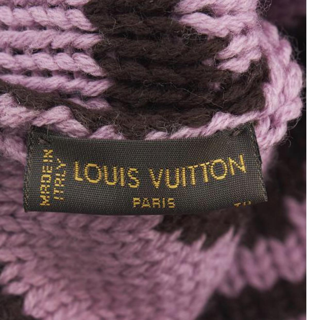 louis vuitton burgundy and pink wool winter hat on tradesy