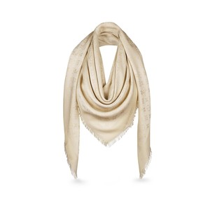 Louis Vuitton Louis Vuitton M74026 Lurex Shine Monogram Shawl Scarf, White
