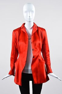 Louis Vuitton Louis Vuitton Red Satin Structural Cut Out Jacket Blazer