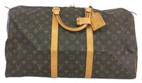 Louis Vuitton Lv Monochrome Keepall 50 Canvas brown Travel Bag