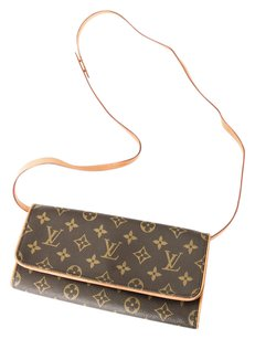 Louis Vuitton Pouchette Twin Gm Monogram Leather Canvas Cross Body Bag
