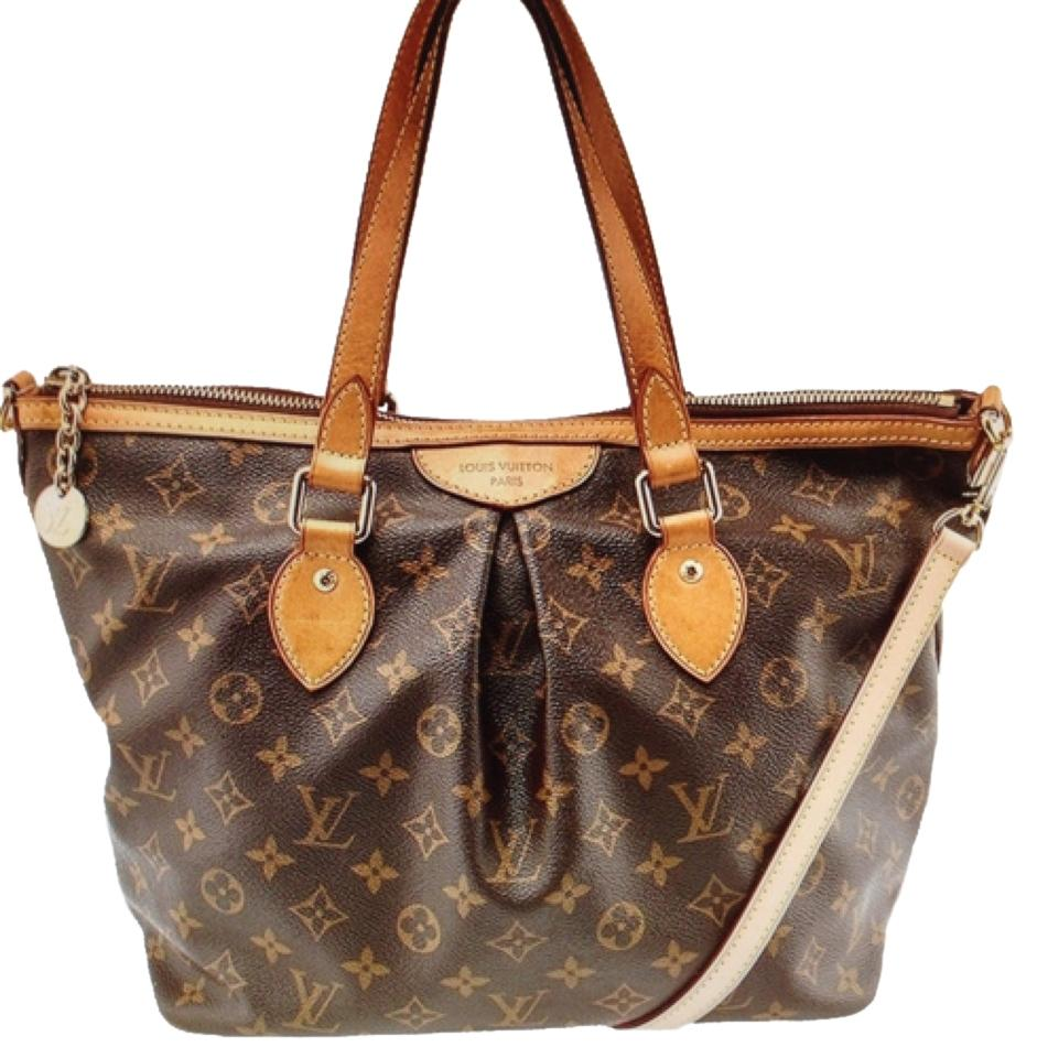 Louis Vuitton Palermo PM Monogram canvas leather brown crossbody tote