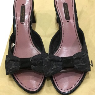 Louis Vuitton Rockstud Bow Dark grey denim Mules