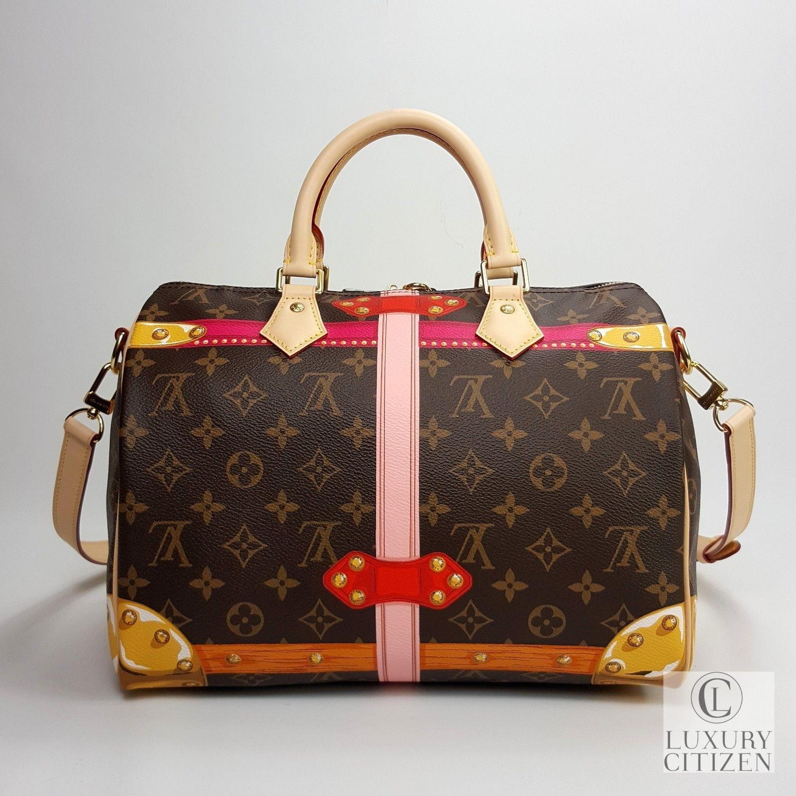 louis vuitton speedy 30 bandouliere summer trunk monogram brown    damier ebene canvas  u0026 leather