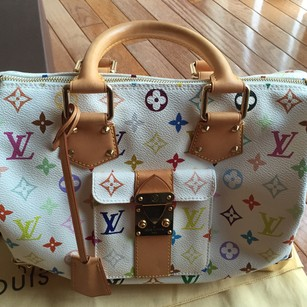 Louis Vuitton Speedy 30 Monogram Multicolor Multicolore Satchel in White