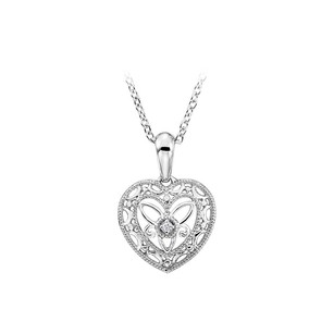 LoveBrightJewelry 0.01 CT Diamond Heart Pendant in 925 Sterling Silver