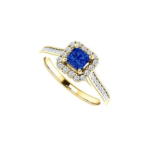 LoveBrightJewelry 1 CT Channel Set CZ Accented Square Sapphire Halo Ring