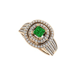 LoveBrightJewelry 1 ct tw Double Halo Emerald CZ Three Rows Ring Vermeil