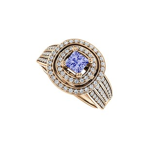 LoveBrightJewelry 1 ct tw Double Halo Tanzanite CZ 3 Rows Ring Vermeil