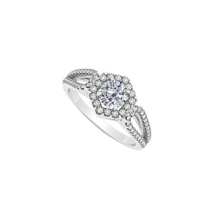 LoveBrightJewelry 1.00 Carat Diamonds Split Shank Halo Engagement Ring