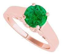 LoveBrightJewelry 1.00 Carat Emerald Solitaire Ring 14K Rose Gold Vermeil
