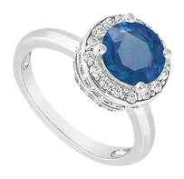 LoveBrightJewelry 10K White Gold Blue Diffuse Sapphire and Cubic Zirconia Engagement Ring 1.00 CT TGW
