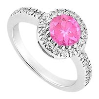 LoveBrightJewelry 10K White Gold Created Pink Sapphire and Cubic Zirconia Engagement Ring 0.75 CT TGW