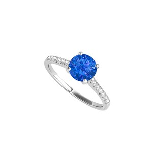 LoveBrightJewelry 1.25 Carat Sapphire Cz Engagement Ring Sterling Silver